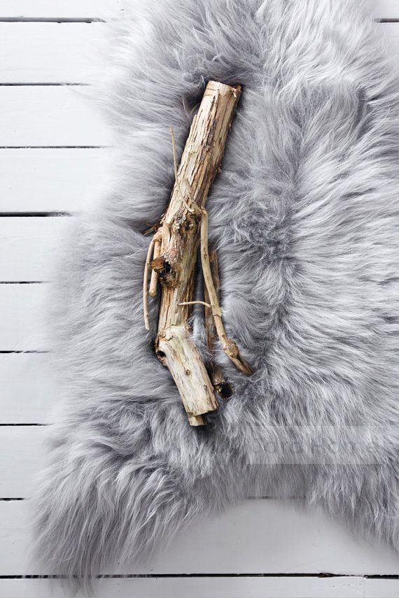 Grey Sheepskin Rug and Throw  The Leja by JordHome on Etsy