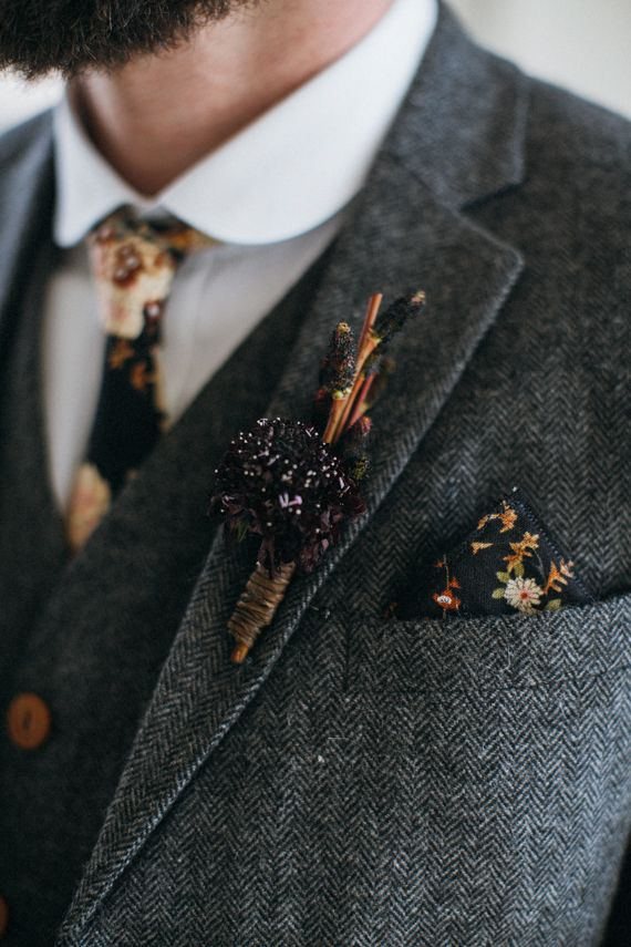 dark floral tie and pocket square | Photo by Jarrod Renaud of The Lantern Room | Florals by Beet and Yarrow | 100 Layer Cake