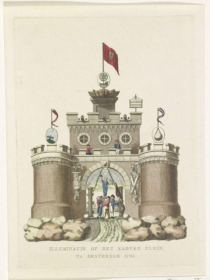 A. Schol (II)   Algemene Wapening, decoratie op het Kadijksplein, 1795, A. Schol (II), 1795   De Algemene Wapening, allegorische decoratie opgericht op het Kadijksplein te Amsterdam bij het Alliantiefeest op 19 juni 1795. Middeleeuwse burcht staande op rotsen, op de torens symbolen van de astronomie, hydrografie en geometrie, Op het chassinet in de onderdoorgang wordt de Vrijheid door Bataafse en Franse matrozen op een schild gehezen. Onderdeel van een serie van dertien platen.