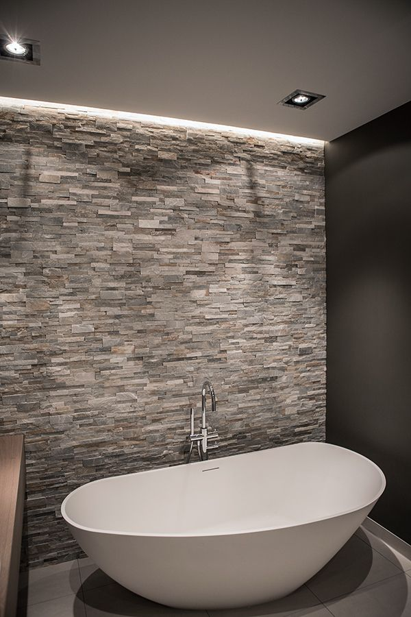 Bathroom accent wall inspiration: stone wall + floors + colour palette