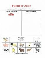 Farm or Zoo?  Sorting and classifying cut and paste activity for preschoolers!