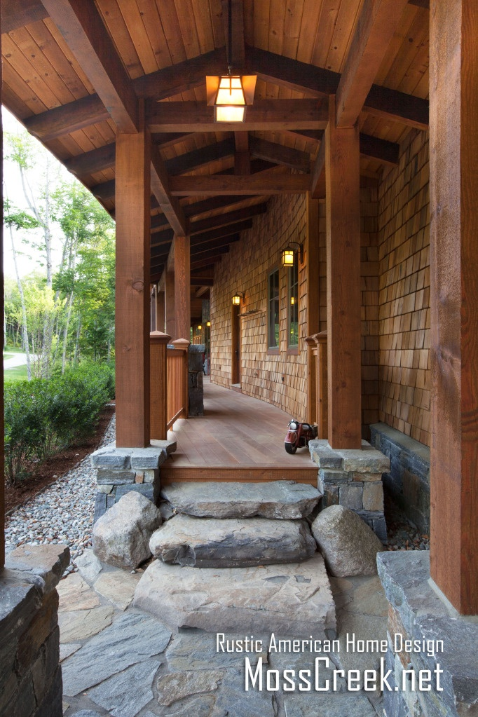 Mountain timber frame home in the heart for Stone and log homes