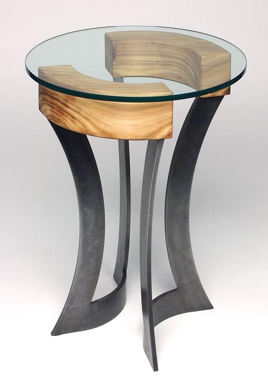 steel, wood, and glass end table