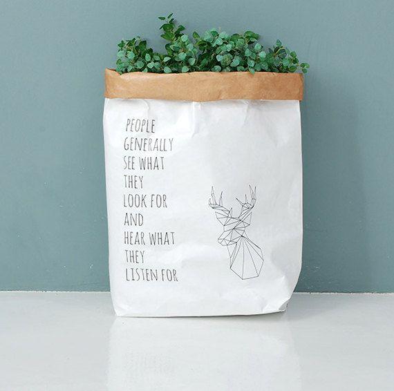 Wasbaar Kraft papieren zak / wasbaar papier mand / Medium opslag / keuken mand / papier tassen / papieren manden / wasbaar papieren zakken [herten]