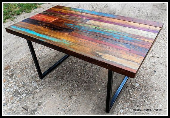 ... Reclaimed Salvaged Wood Dining Table with Paint and Patchwork Stains