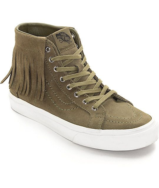 Olive is the new black this season. Get your look on the right track with these ivy green Sk8-Hi Moc shoes for women by Vans. The classic Sk8-Hi with the added flare of a new moccasin inspired top collar will pump up your casual look with ease. Vans Sk8-H