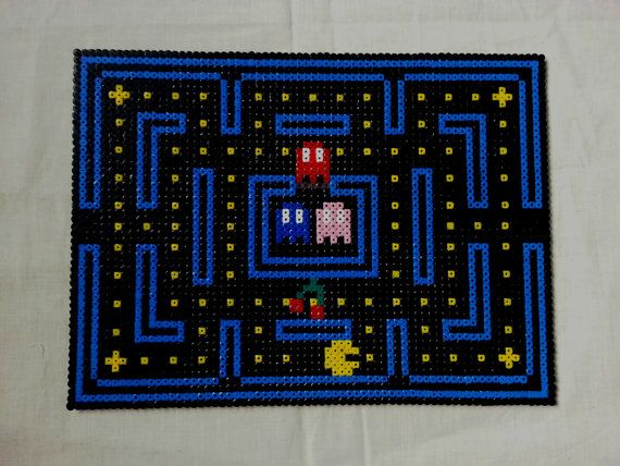 Pacman Video Game Table Place Mat Hama Perler Beads By