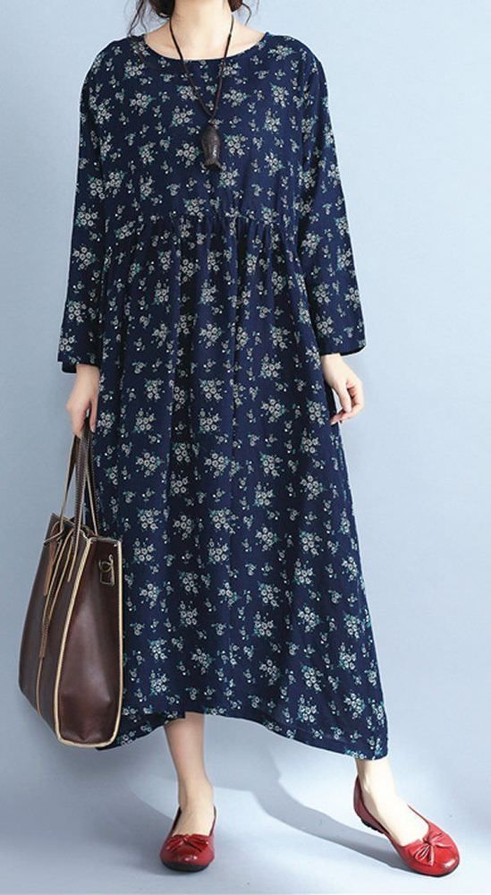 Women loose fit maxi dress flower tunic pocket long robe fashion casual chic #unbranded