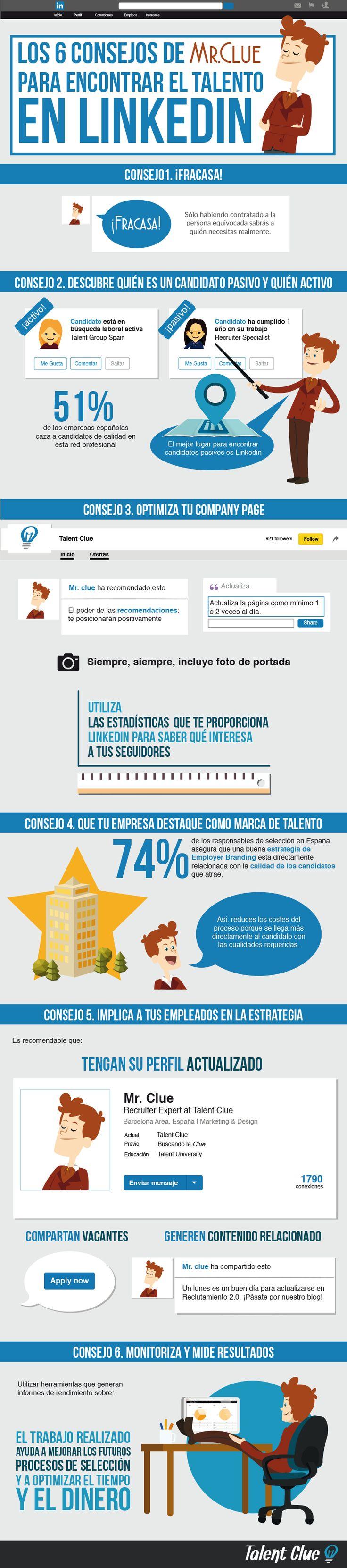 Los Consejos de Mr. Clue Para Encontrar Talento En Linkedin #Linkedin #Infografia
