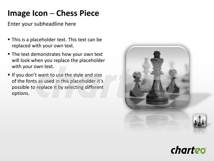 Present new strategies to your audience by making use of our Chess Piece Image Icon for PowerPoint. Download now at http://www.charteo.com/en/PowerPoint/Backgrounds-Images/Photo-Icons/Image-Icon-Chess-Piece-PowerPoint.html