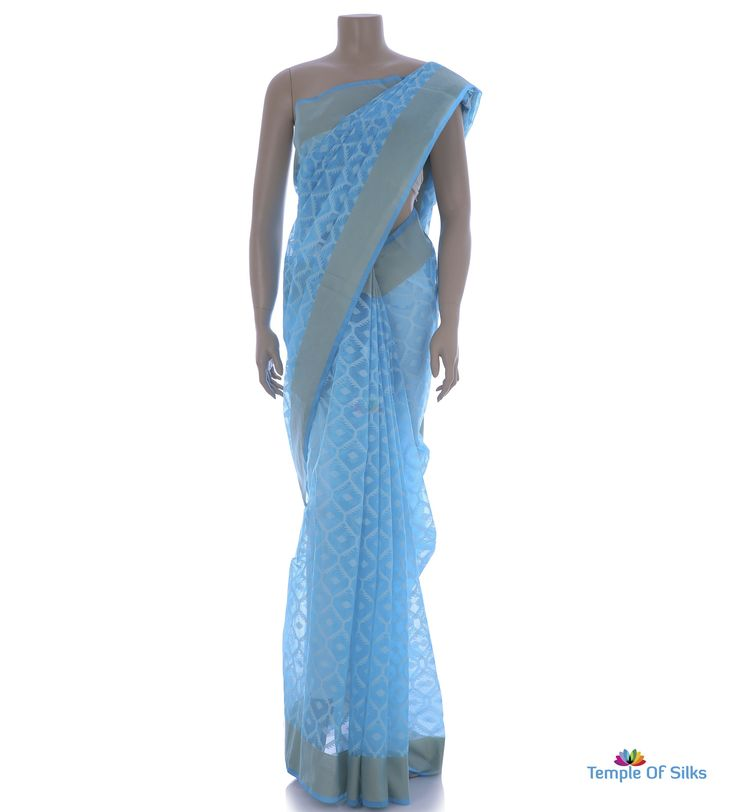 Dark sky blue kota saree with honeycomb design