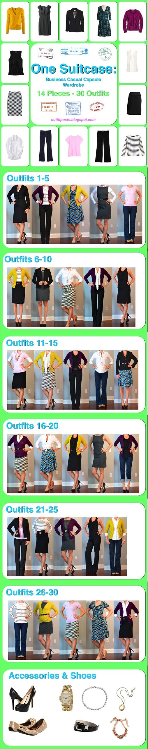 Outfit Posts: one suitcase: business casual capsule wardrobe 14 pieces, 30 outfits!  **new favorite blog - she actually tells you where her items came from!