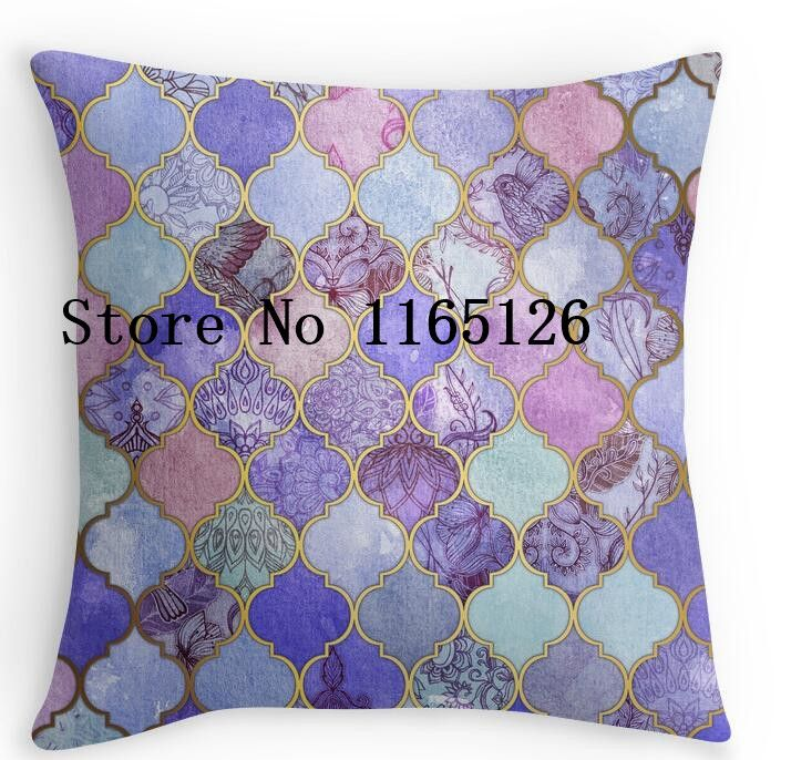 Aliexpress.com : Buy Luxury Printing Royal Purple, Mauve & Indigo Decorative Moroccan Tile Pattern Square Zippered Pillowcase Twin Side Printed from Reliable side pocket suppliers on Cool pillow case Art Store