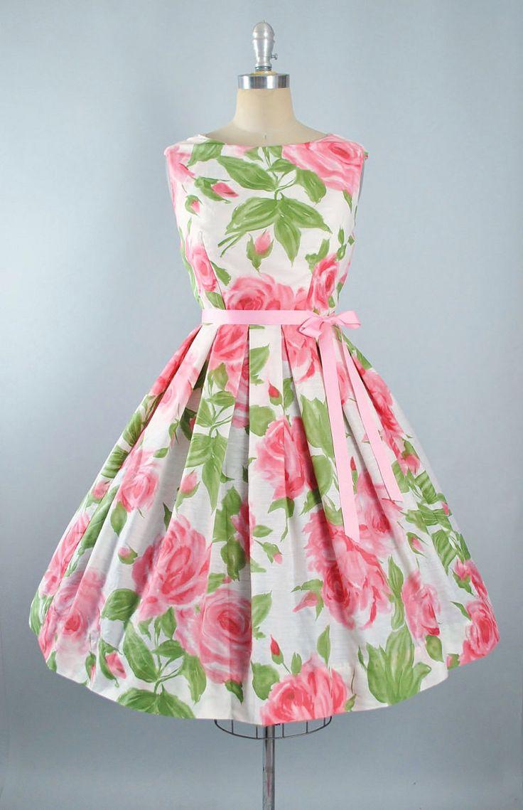 Vintage 50s ROSE Print Dress / 1950s Cotton by GeronimoVintage