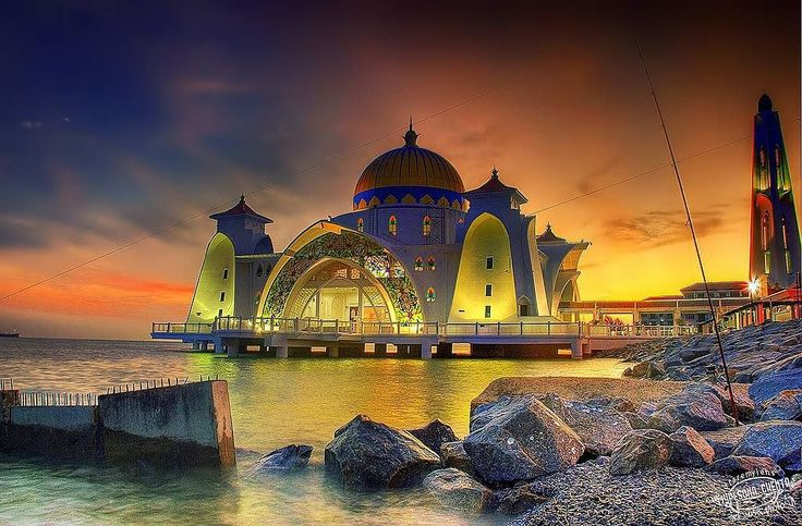 The Malacca Straits Mosque is a mosque located on the man-made Malacca Island near Malacca City in Malacca state, Malaysia. The construction cost of the mosque was about MYR10 million