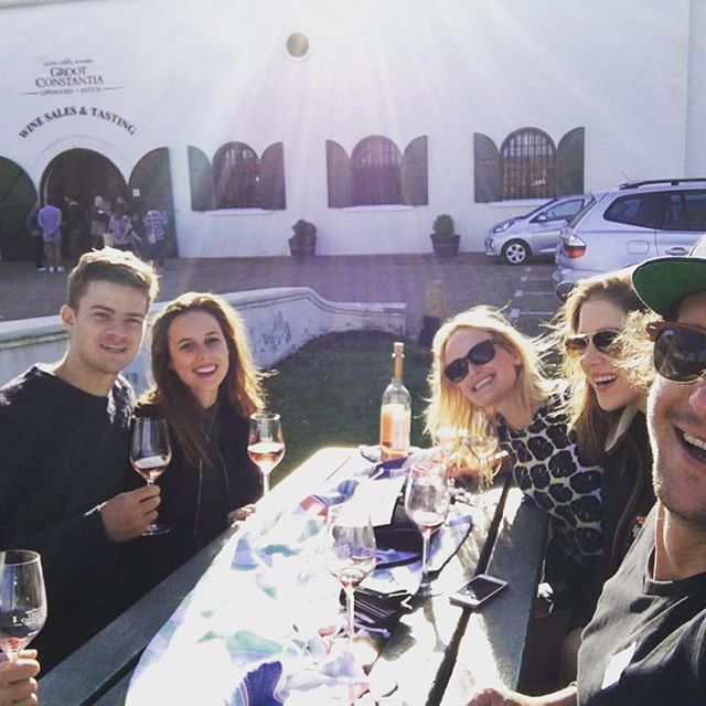 Old and new friends enjoying their weekend in the vineyards with #constantiawinetour #grootconstantia #vino #capetown #southafrica