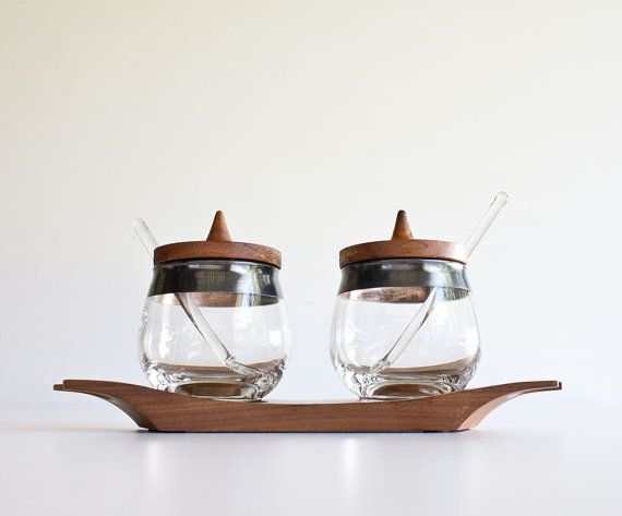 Vintage Mid Century Modern Condiment Set by kibster on Etsy, $25.00