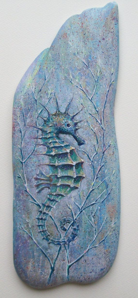 Painted Driftwood  Seahorse in Reeds by FabulousFlotsam on Etsy