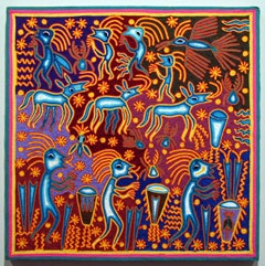 """The Ceremony of the Ancients  Huichol yarn painting by  Jose Benitez Sanchez (1938-2009)  Nayarit, Mexico, c. 2007  Yarn pressed into beeswax on plywood  (24"""" x 24"""")"""