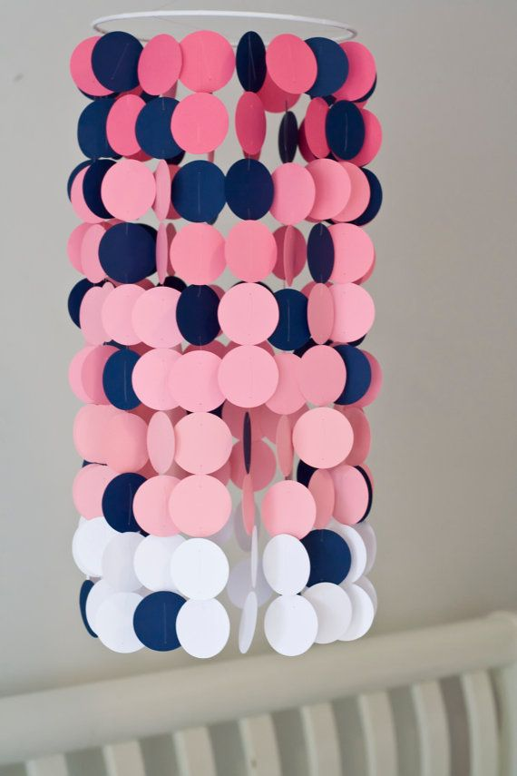 Pink Ombre with Navy accents Paper Crib Mobile, Modern circle mobile, geometric crib mobile, nursery mobile, teen room, dorm room,