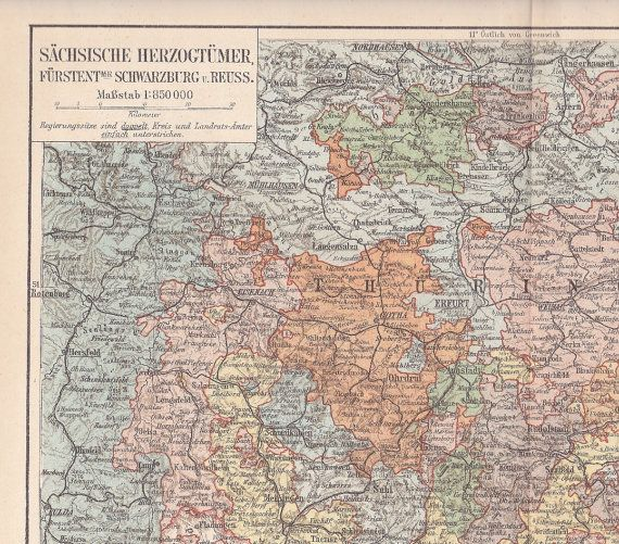 1896 Saxon or Ernestine Duchies of German Empire at by Maptimistic, $15.90