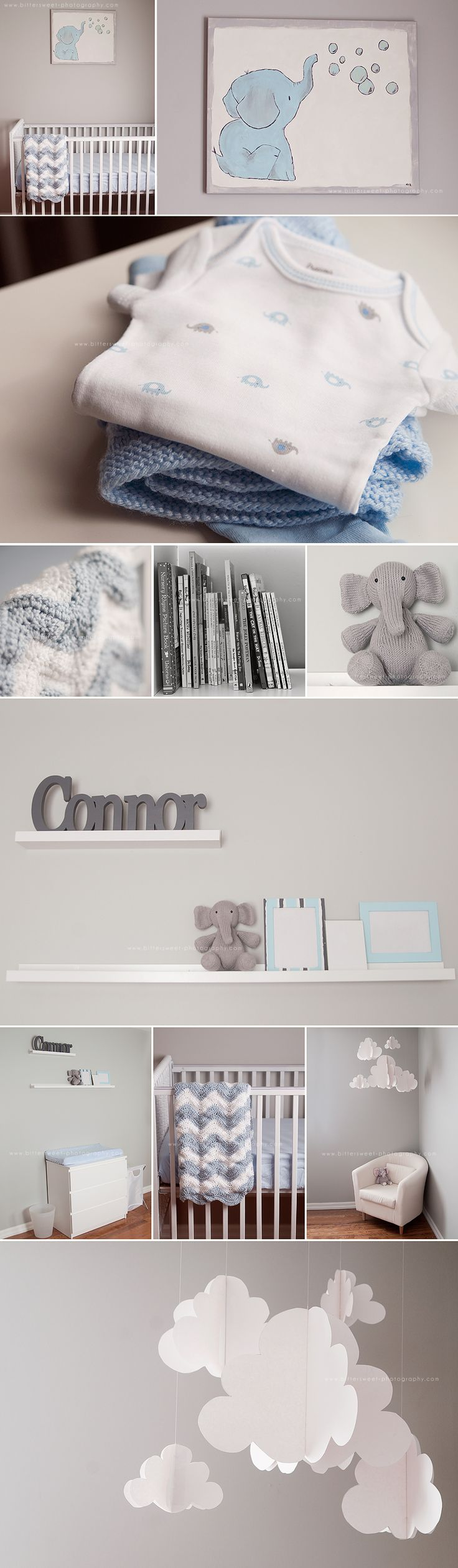 Baby Boy Nursery - It needs more baby blue in the coloring to cheer things up a bit. Love the clouds and elephants.....I already know what I want to do for a boy nursery but this is sooooooo darn cute!!!