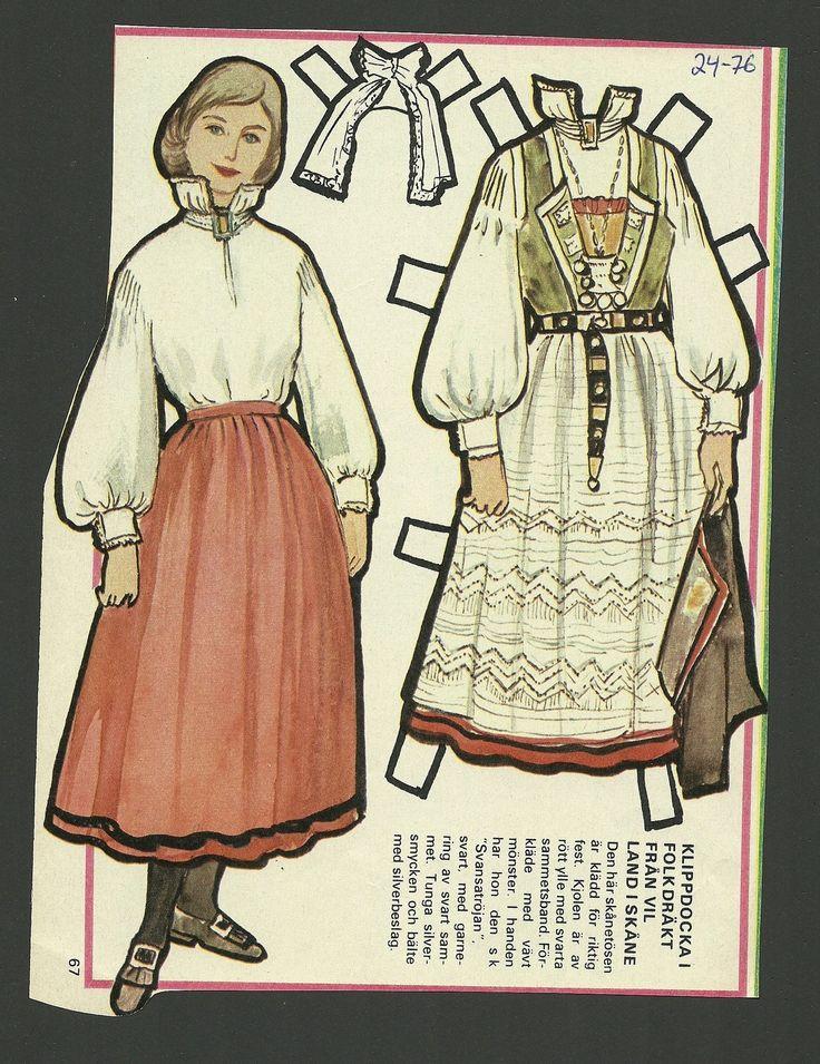 Female Costume vil Land Skane Sweden Vintage Swedish Paper Doll | eBay