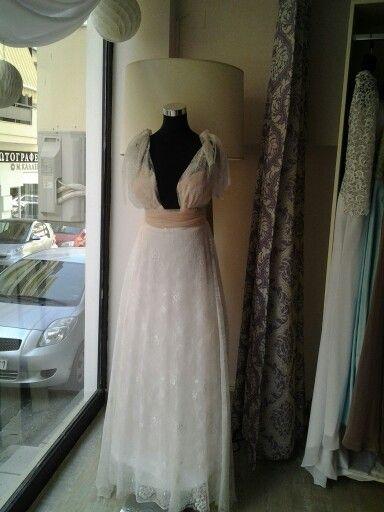 Chantilly lace bridal dress.