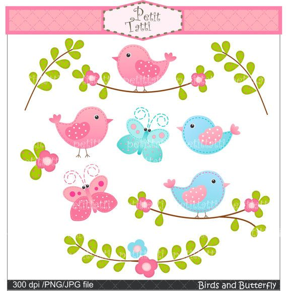 Digital clip art. for all useBirds and Butterfly by petittatti