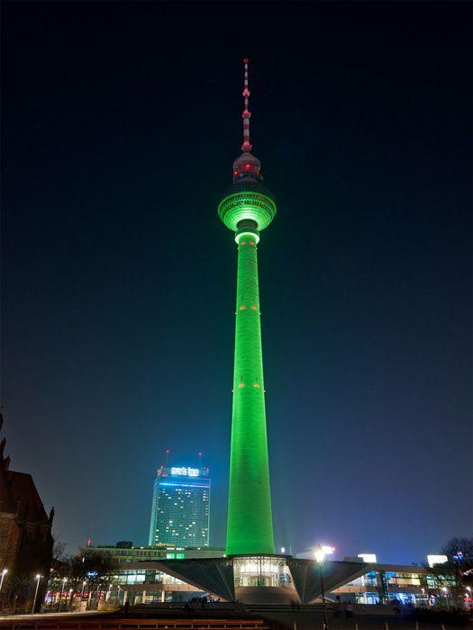 TV Tower in Berlin's Alexanderplatz, Germany greened.