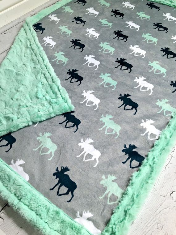 Moose Baby Blanket Designer Minky Grey Mint White by CorkysQuilts