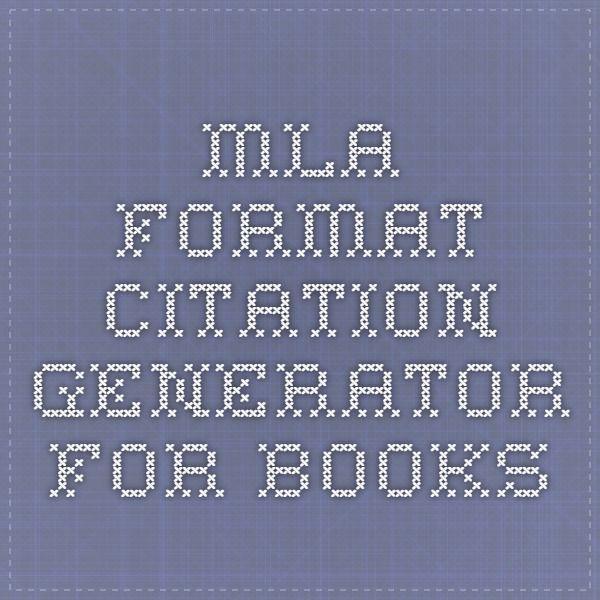 MLA format citation generator for books