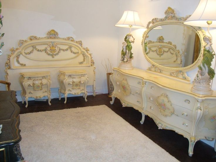 SO FAB SHABBY ROMANTIC VINTAGE ITALIAN PAINTED BARBOLA SWAGS 6 PIECE BEDROOM  SET. 465 best Italian   Hand Painted Furniture images on Pinterest