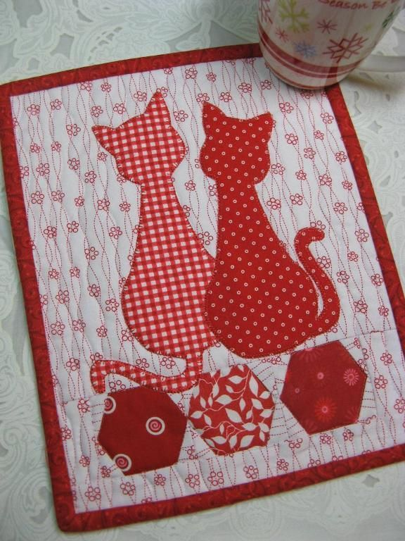 Looking for your next project? You're going to love Calico Cats Mug Rug by designer 2strings. - via @Craftsy