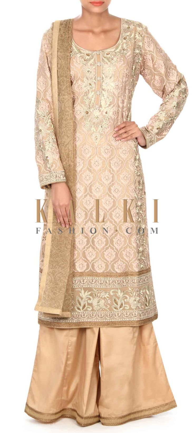 Buy this Beige straight suit in zari and resham embroidery only on Kalki