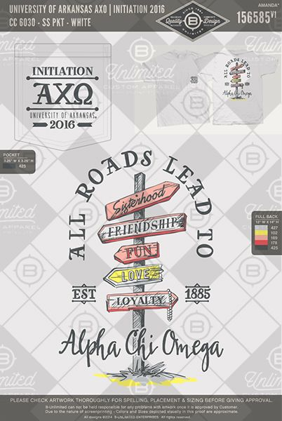 University of Arkansas AXO Initiation 2016 #BUnlimited #BUonYOU #CustomGreekApparel #GreekTShirts #Fraternity #Sorority #GreekLife #TShirts #Tanks #TShirtIdeas #AlphaChiOmega #AlphaChi #AXO #Initiation #BigLittle #Sisterhood #SpringBreak #BidDay #Theme #RoadSign
