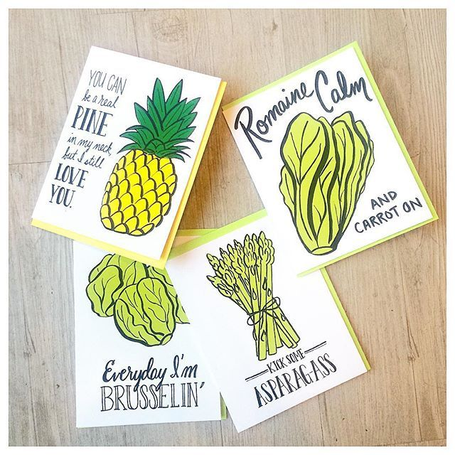 """""""Everyday I am Brusselin'   These cards.  #brussels #romaine #asparagus…"""