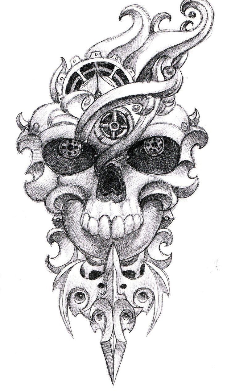 simple skull tattoo - 736×1267