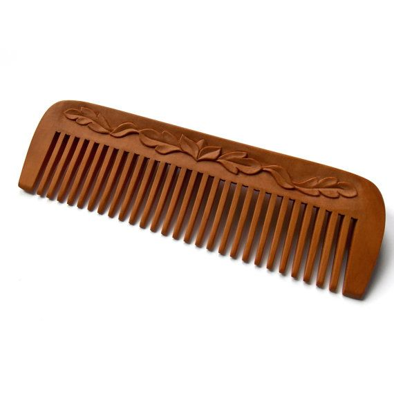 Wooden hair comb wood carving head scalp by mariya4woodcarving