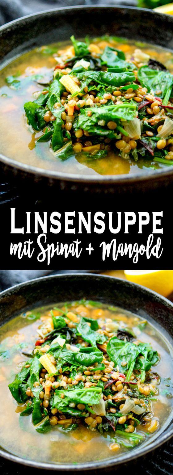 Diese Linsensuppe mit Spinat und Mangold ist für einen gemütlichen Winterabend geeignet, weil sie von innen wärmt. Als Blattgrün könnt Ihr ein anderes Gemüse Eurer Wahl verwenden (z.B Grünkohl). Das Rezept ergibt 4 Portionen. Wer möchte kann aber auch noch gerne ein paar Kartoffeln dazu geben, um die Suppe noch herzhafter zu machen. Einfache gesunde Rezepte - Elle Republic #linsensuppe #vegan #vegetarisch #spinat #mangold