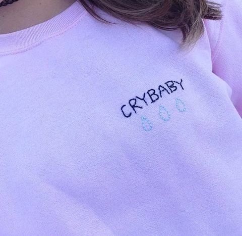 Embroidery Corner CryBaby Pink Crewneck – Fresh-tops.com Done