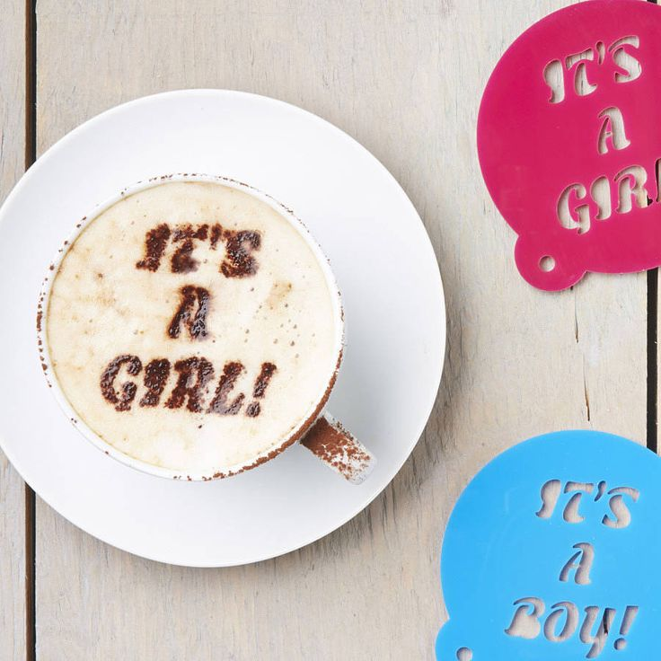 baby gender announcement in coffee.....have to do this!