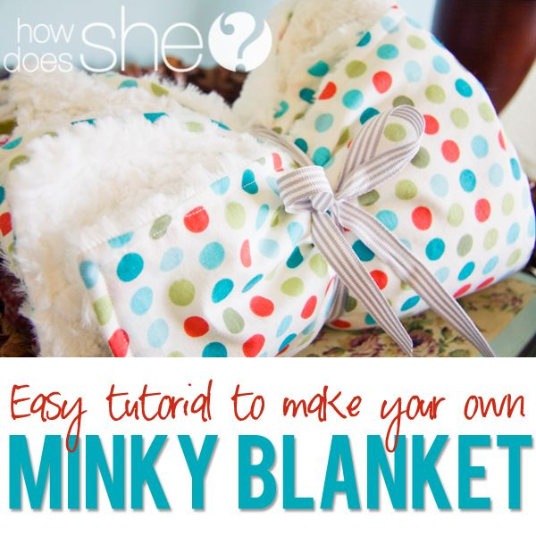 Super easy Minky Blanket tutorial with a cotton print! #minkyblanket #babygift #babyblanket from howdoesshe