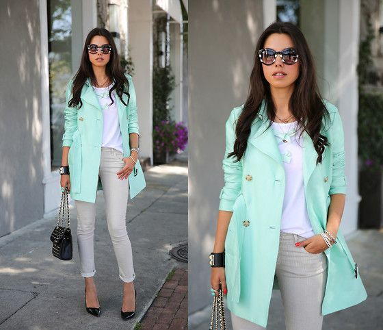Tart Collections Trench Coat, Rebecca Minkoff Bag, Les Femmes Velours Tee, Theory Heels