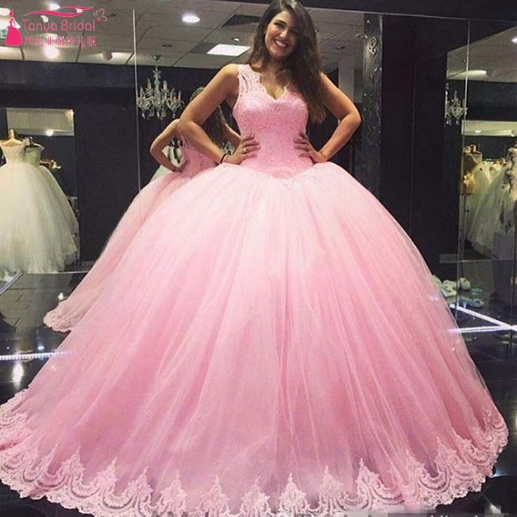 Find More Wedding Dresses Information about Pink Sweety Wedding Ball Gowns V Neck Lace Appliques Bridal Dresses Lace Up robe de mariage Z1113,High Quality Wedding Dresses from Tanya Bridal Store on Aliexpress.com