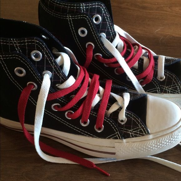 Converse All Star, high-top double fold Bought from a Converse outlet, never worn, high-top, double fold, double tongue, black and red plaid, men's size 6, women's size 8 Converse Shoes Sneakers