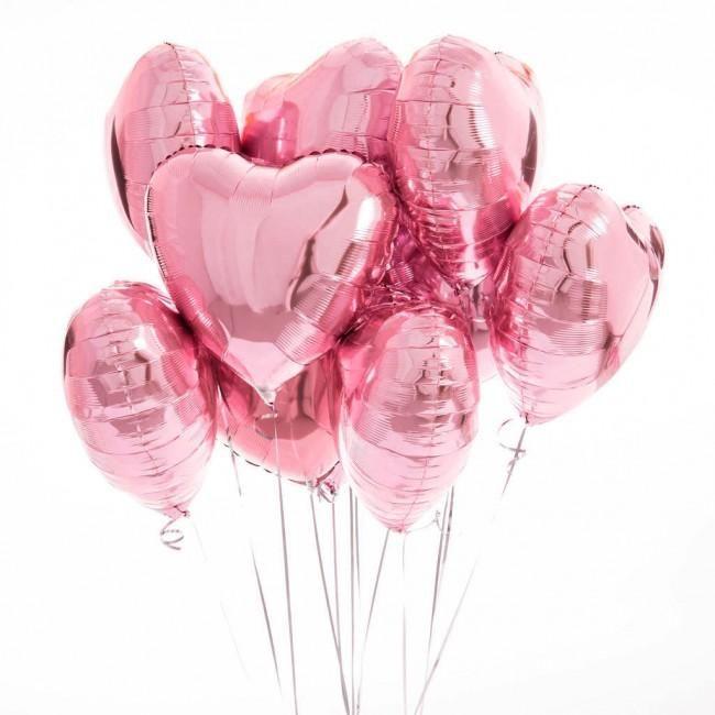Pink Heart Mylar Balloons Bouquet Baloes Dourados Decoracao De