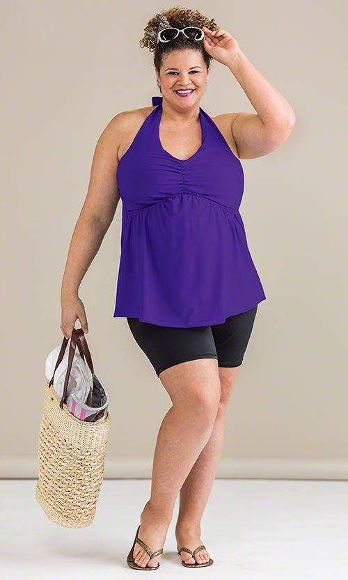 Halter Tankini & Chloroban Swim Shorts / MiB Plus Size Fashion for Women