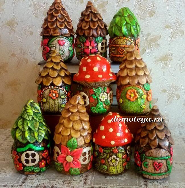 Сказочные домики из соленого теста. Fairy houses - Saltdough craft. Masasolna
