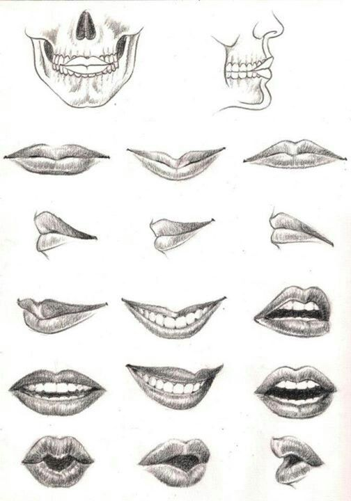 how to draw open lips